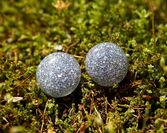 Mixed Holographic Micro Glitter And Diamond EFX Resin Stud Earrings - Round - 12mm