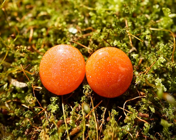 Peach Orange Sparkle Resin Stud Earrings - Round - 12mm