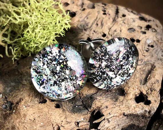 Shattered Holo Resin Stud Earrings - Round - 12mm - Surgical Steel