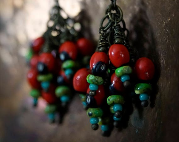 Brass Chain Earrings with Red Seed, Green Turquoise and Blue Seed Bead Clusters *Holiday Gift Ideas* Gifts for Her