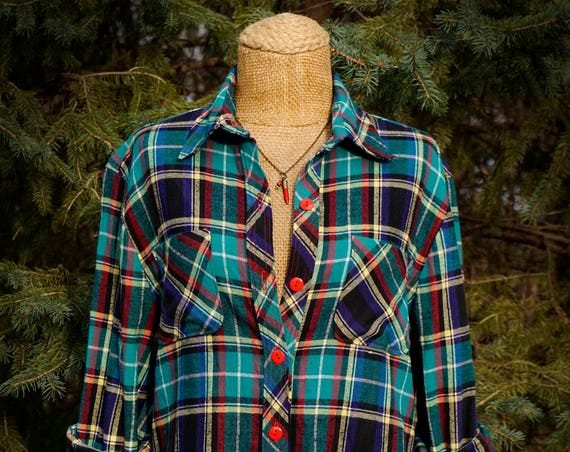 Oversized Lightweight Teal Tartan Plaid Flannel Shirt with Red Double Topstitching - Unisex