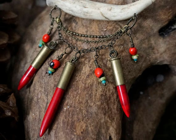 Antler Tip Short Necklace with Red Howlite Spikes, Brass Chain, Red Seeds and Turquoise Beads *Holiday Gifts* Gifts for Her