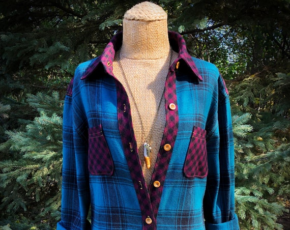 Oversized Lightweight Teal Burgundy Plaid Flannel Shirt with Golden Double Topstitching - Unisex