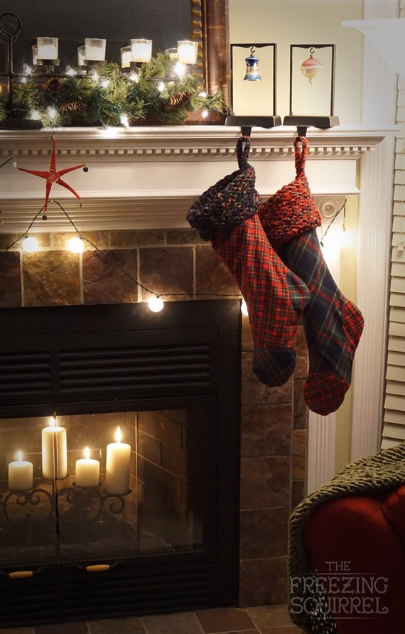 Navy and Red Plaid Flannel Christmas Stocking with Knit Flannel Cuff and Golden Crushed Velvet Interior