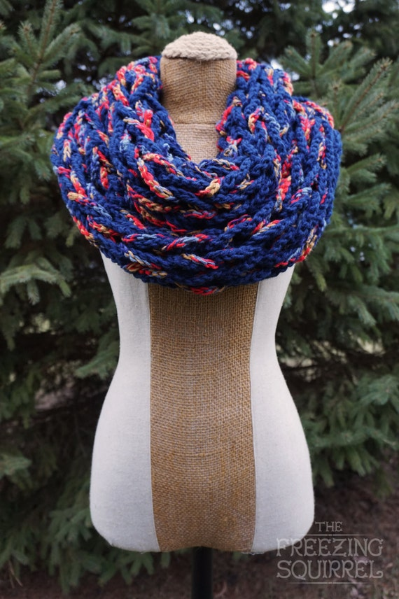 Crocheted Arm Knit Chunky Infinity Scarf: Navy Blue / Multi-Red