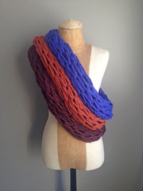 Chunky Arm Knit Infinity Scarf: Spice
