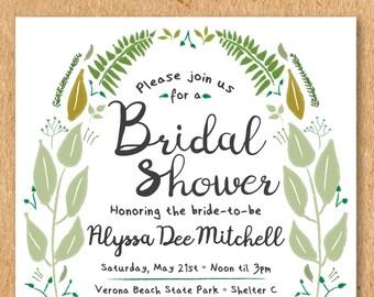 "Greenery Bridal Shower Invite, Garden Bridal Shower, Spring Bridal Shower, Summer Bridal Shower, Fern Invitation, Printable Invitation 5x7"""