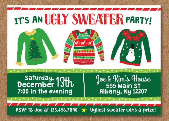 Ugly Sweater Party Holiday Party Tacky Sweater Christmas Etsy