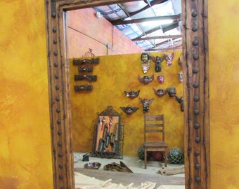 Bathroom Vanity Mirror Rancho Adobe Rustic Mirror 24x36  Inches Handmade Barbed Wire Wall Spanish Lodge Western Custom