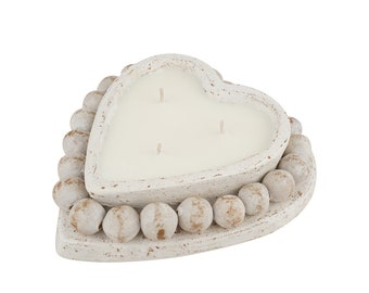 Quantity 6-Beading Heart-Handmade-Candle Pour-Clay Candle Vessel-7 x 8 x 2 inches-Exclusive Design-NEW-Gorgeous-White