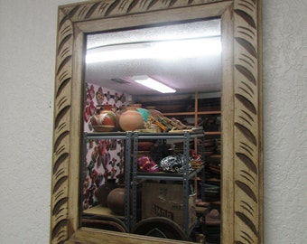 Good Antique Old Door Carved Rustic Mirror Mexican 24x30.5  In Wood Wall Large Beautiful Primitive Vintage Shabby White