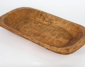 Wooden Dough Bowl-11-12W x 20-22L x 2.5-3D inches-Batea-Wood-Farmhouse Trencher-Primitive-Handmade-Natural Wax