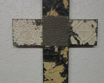 Reclaimed Antique Ceiling Tin Cross-Handmade-Wood-Rustic-13x16 inches-Wall-Repurposed Tins-Vintage-Primitive