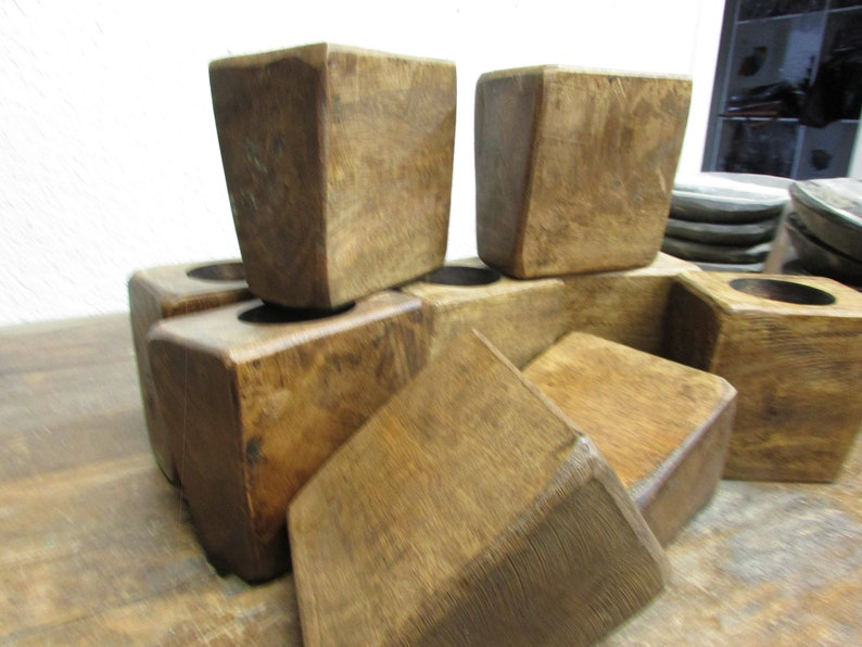 SPECIAL-Quantity 10-One Hole Sugar Mold-Wood-Rustic-Handmade-5W x 3L x 5H inches--Candle Pour-Candle Fill-Best Price-Sugar Mold-Natural