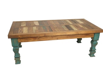 Reclaimed Wood Turquoise Coffee Table 48L X 24W X 17H In Western Vintage