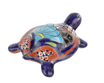 Talavera Garden Turtle-Small-Hand Painted-Handmade-Colorful-Beautiful-8x7x3 inches-Small