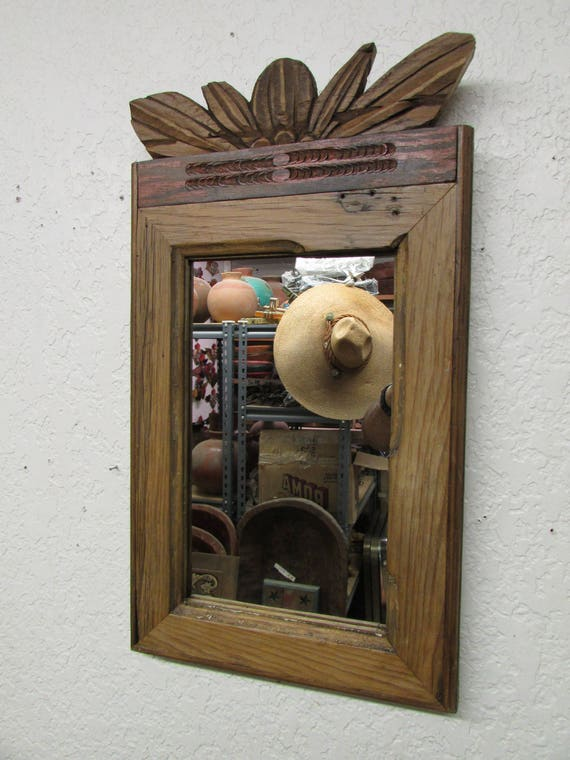 Antique Old Door Carved Rustic Mirror Mexican 13x23