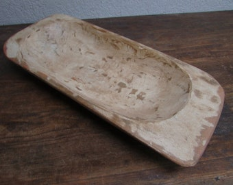 Great Value-Eurostyle  Deep Rustic Wooden Dough Bowl With Handles #76- Batea --Wooden-Handmade-11 x 25 x 4 inches-Antique White-Sale