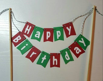 """Cake Bunting, """"Classic"""", Happy Birthday, Red and Green, Christmas, Cake Topper, Cake Banner"""