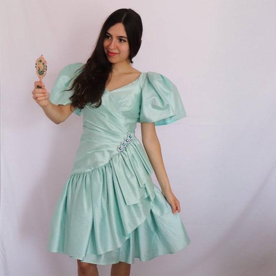 Mint Tiered Prom Dress