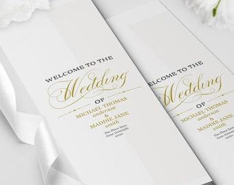 Wedding Program Template Folded Etsy
