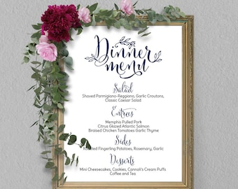 Buffet menu Etsy