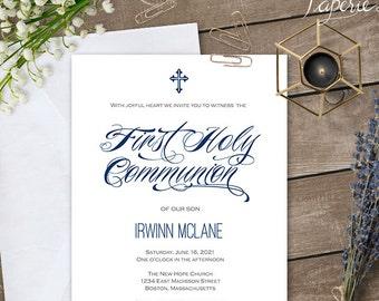 first communion for boy boy first communion invitation printable first communion first holy communion invitation template s11 fcin