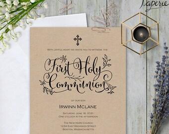First communion invitation, first communion invite, Printable first communion, first holy communion , Invitation template, #S11-FCI