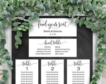 Table number seating cards, Seating chart cards, Wedding seating chart cards, Printable seating chart,DIY, editable text, Clean, modern
