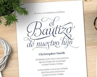 Baptism Invitation Boy Spanish Etsy