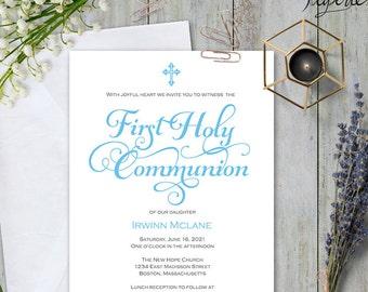 boy first communion invitation boy first communion invite printable first communion first holy communion invitation template s4 fcib