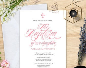 Baptism Invitation Girl Invitations Printable Template Editable Text Christening Pink S16 BIBN