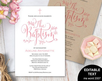Girl Baptism Invitations Invitation Printable Template Editable Text Christening Pink S11 BIG