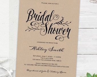 rustic bridal shower invitations bridal shower invites instant download printable templates editable text bs10