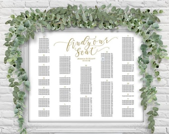 Wedding seating chart, printable, seating chart, template, DIY, wedding decorations, Seating chart template, Alphabetical order, S22
