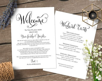 wedding weekend itinerary wedding itinerary welcome bag letter note printable template instant download s11