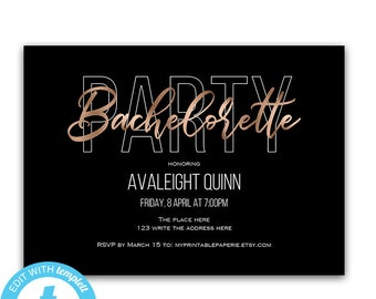 Bachelorette party invitation, bachelorette party invites, girls night out, bachelorette party templates, rosegold, printable, bachelorette