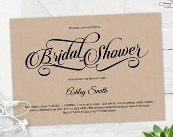 Rustic, Bridal shower invitations, instant download, Bridal shower invites, wedding shower, printable, invitation templates, S10
