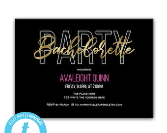 Bachelorette party invites, bachelorette party invitation, girls night out, bachelorette party templates, gold, printable, bachelorette