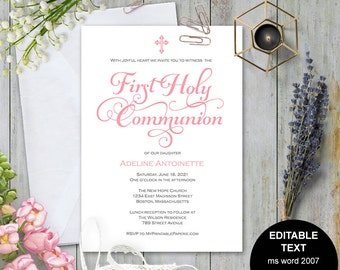 First communion invitation, Girl first communion invite, Printable first communion, first holy communion , Invitation template, #S4-FCIG