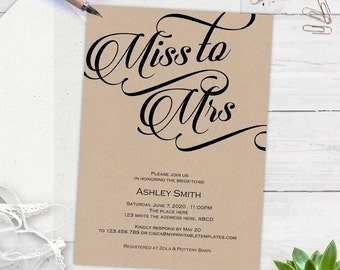 Rustic, Miss to Mrs, Bridal shower invitations, Bridal shower invites, instant download, printable, templates, editable text| S10