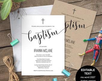 printable baptism invitation baptism invites baptism invite etsy