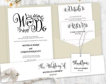 pocketfold invitation template wedding invitation suite etsy
