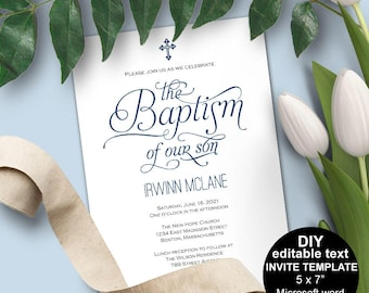 Boy Baptism Invitations Invitation Printable Template Editable Text Christening Navy