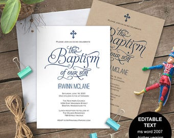 boy baptism invitations baptism invitation printable baptism etsy