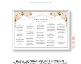 Pink Flowers Editable Seating Chart Wedding Template Etsy