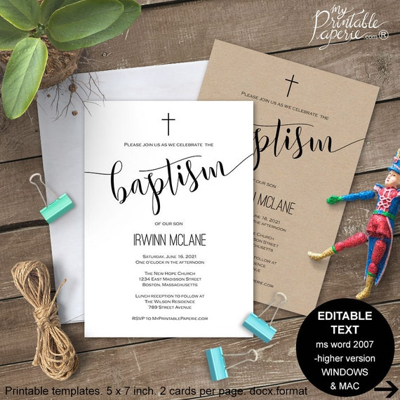 Printable Baptism Invitation Invites Invite