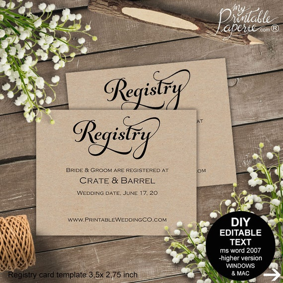 registry card wedding registry wedding registry card gift etsy