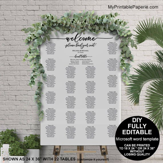 Seating Chart Wedding Template Poster