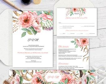 Editable text| Printable wedding invitation suite|Wedding suite diy|Printable| Invitation set| Template for wedding| Floral| Boho |ETWS| WF2